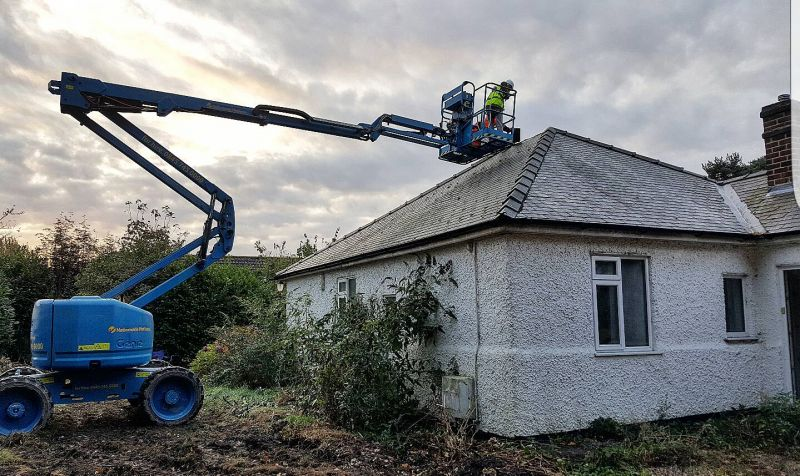 Removing roof ridges to check for bats before demo starts.: Swipe To View More Images